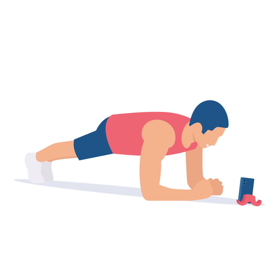 athlete doing plank while looking at REVOO's app